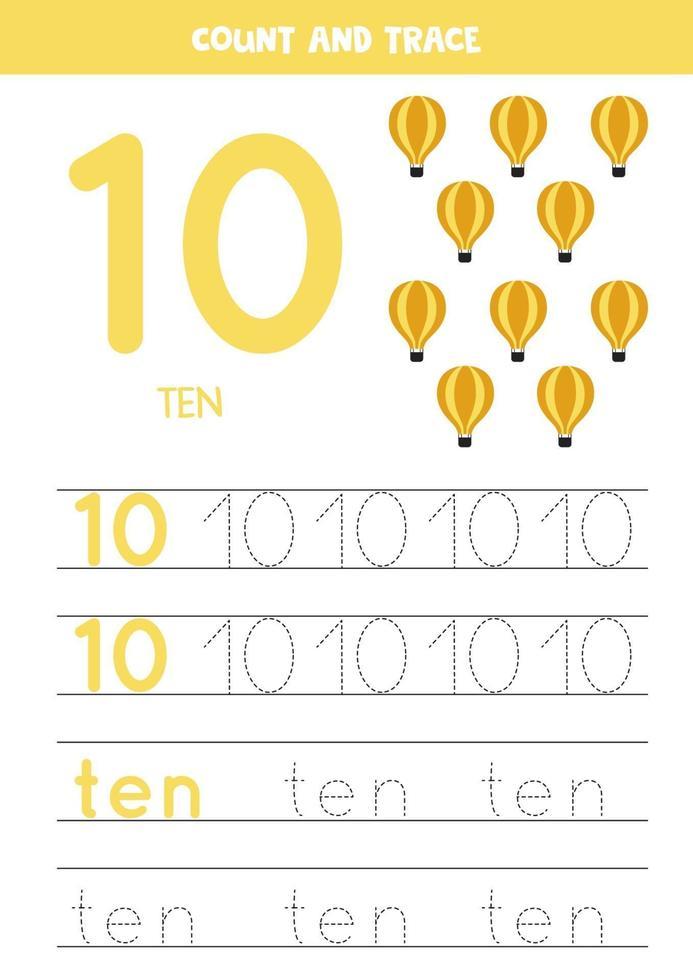 traçage de la feuille de calcul des nombres avec des ballons à air de dessin animé vecteur