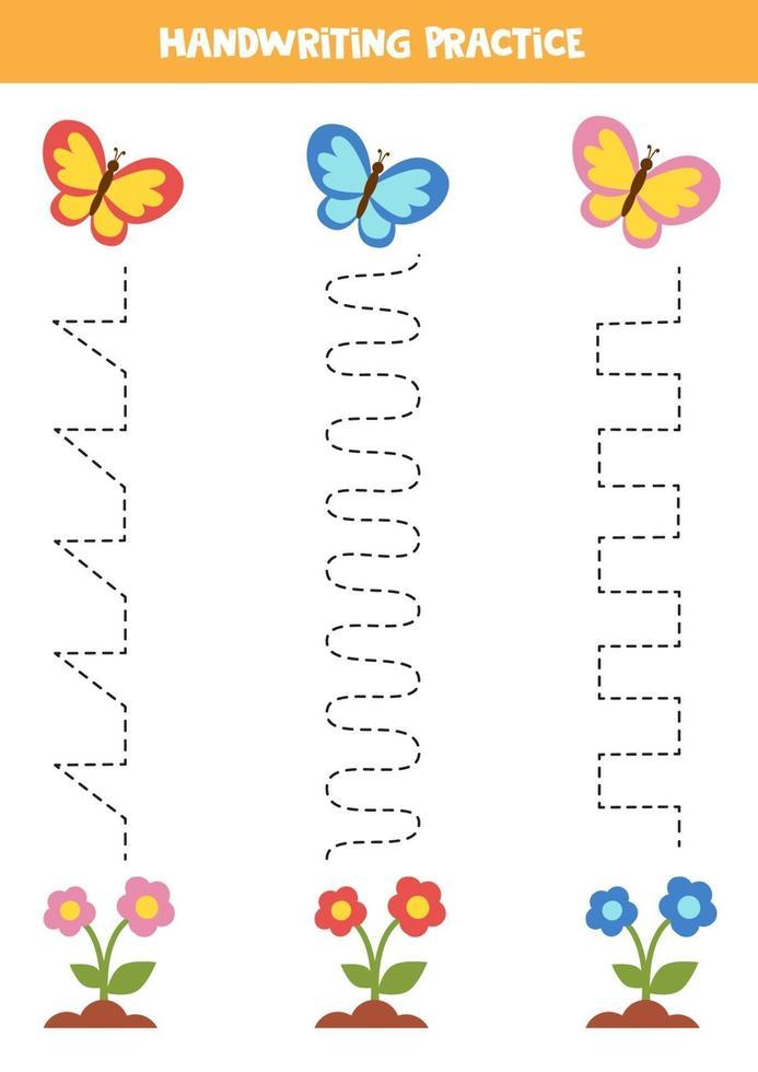 tracez les lignes avec de jolis papillons. pratique de l'écriture. vecteur
