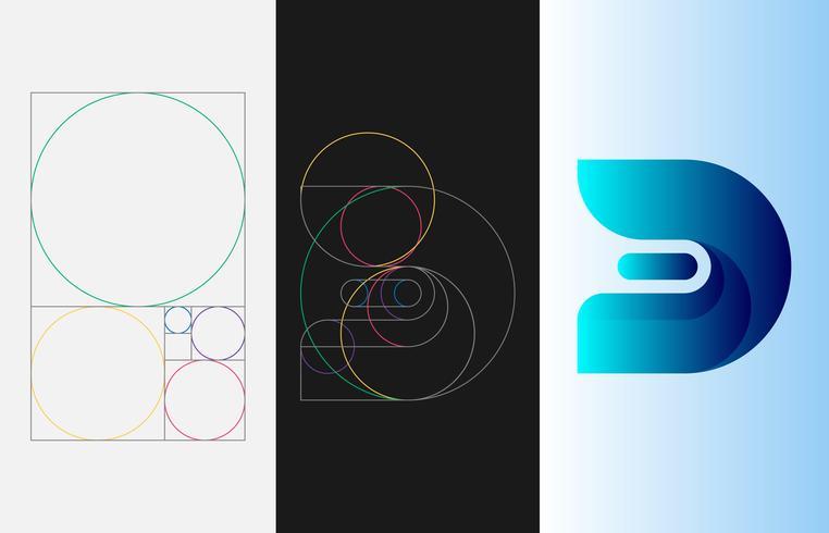 Or Ratio Template Logo Illustration vectorielle vecteur