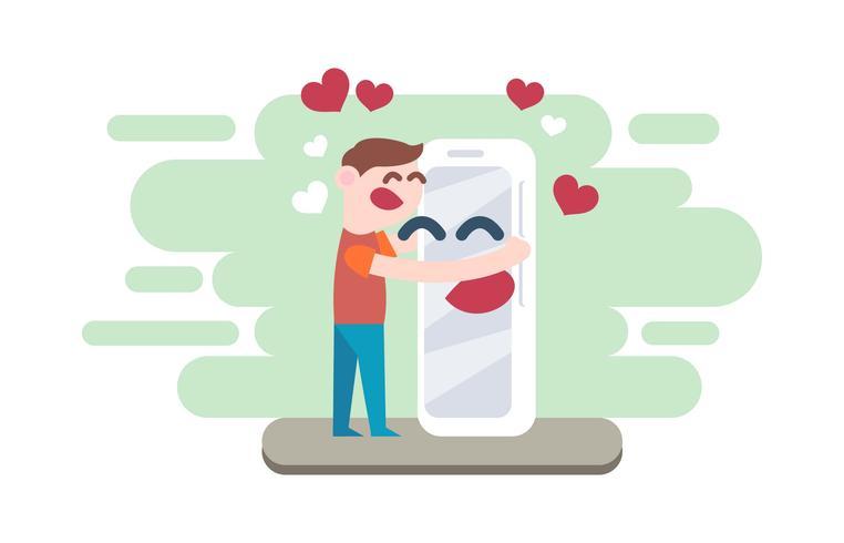 En amour avec la technologie plate Illustration Vector