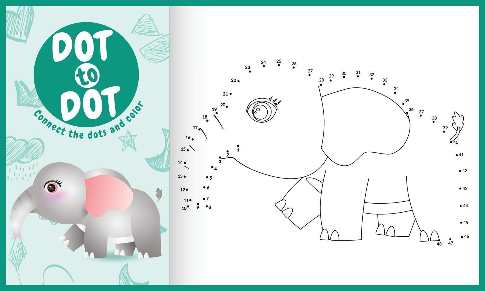 connectez le jeu et la page de coloriage pour enfants points avec une illustration de personnage d'éléphant mignon vecteur