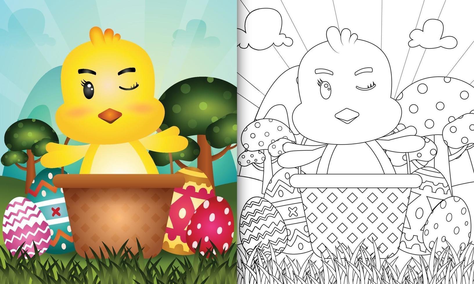 Livre de coloriage pour les enfants sur le thème de joyeuses pâques avec illustration de personnage d'un poussin mignon dans l'oeuf de seau vecteur