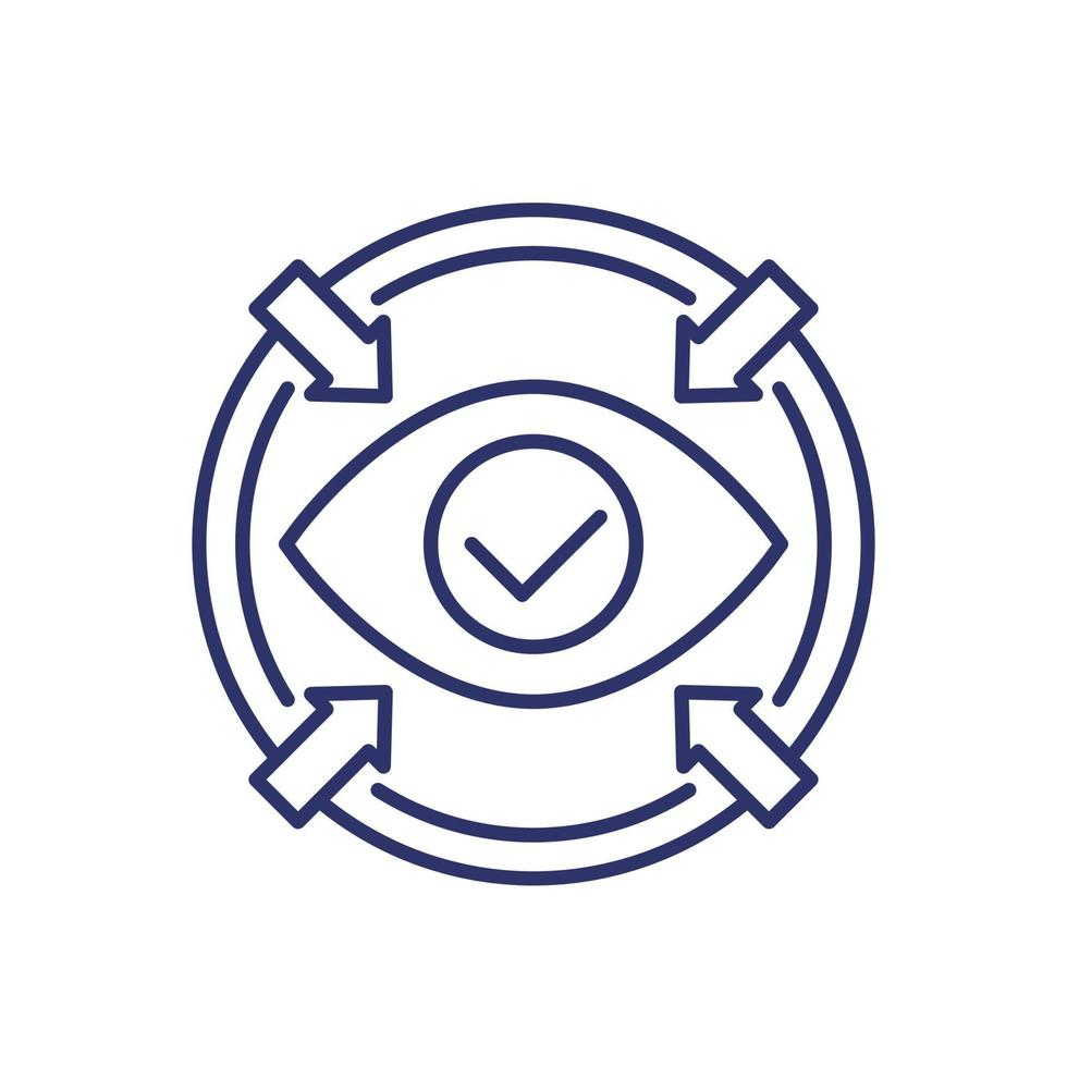 icône de mise au point avec oeil, vecteur de ligne