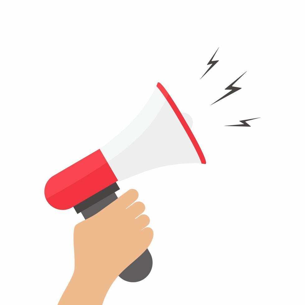 design plat illustration vectorielle élégante main tenant mégaphone. le concept de promotion et de publicité dans des couleurs élégantes d'objets de conception Web, d'articles commerciaux, de bureau et de marketing vecteur