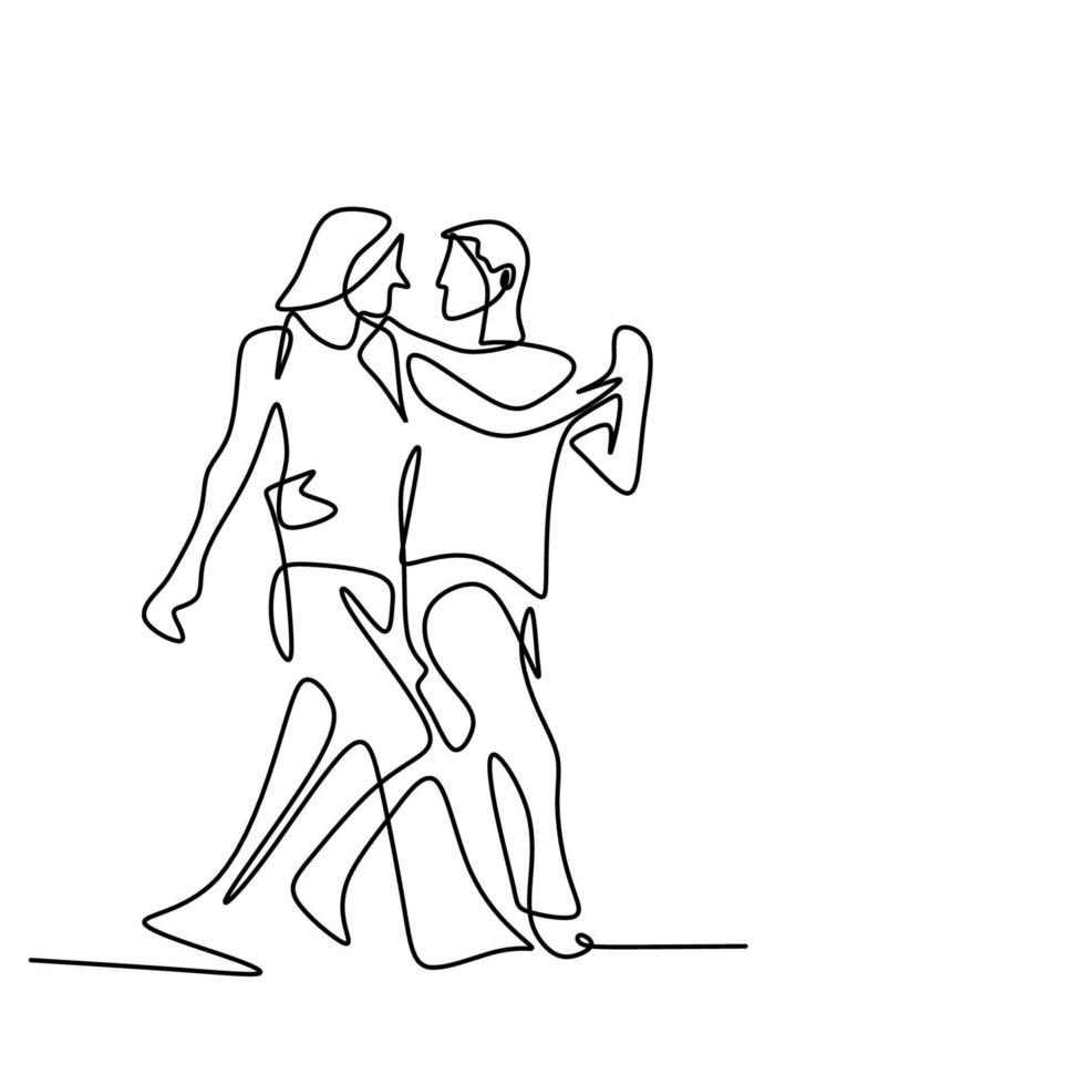 dessin au trait continu d'un couple heureux dansant ensemble. jeune homme et femme dans un moment romantique isolé sur fond blanc. le concept de l'amour dans le design minimaliste de l'amour. illustration vectorielle vecteur