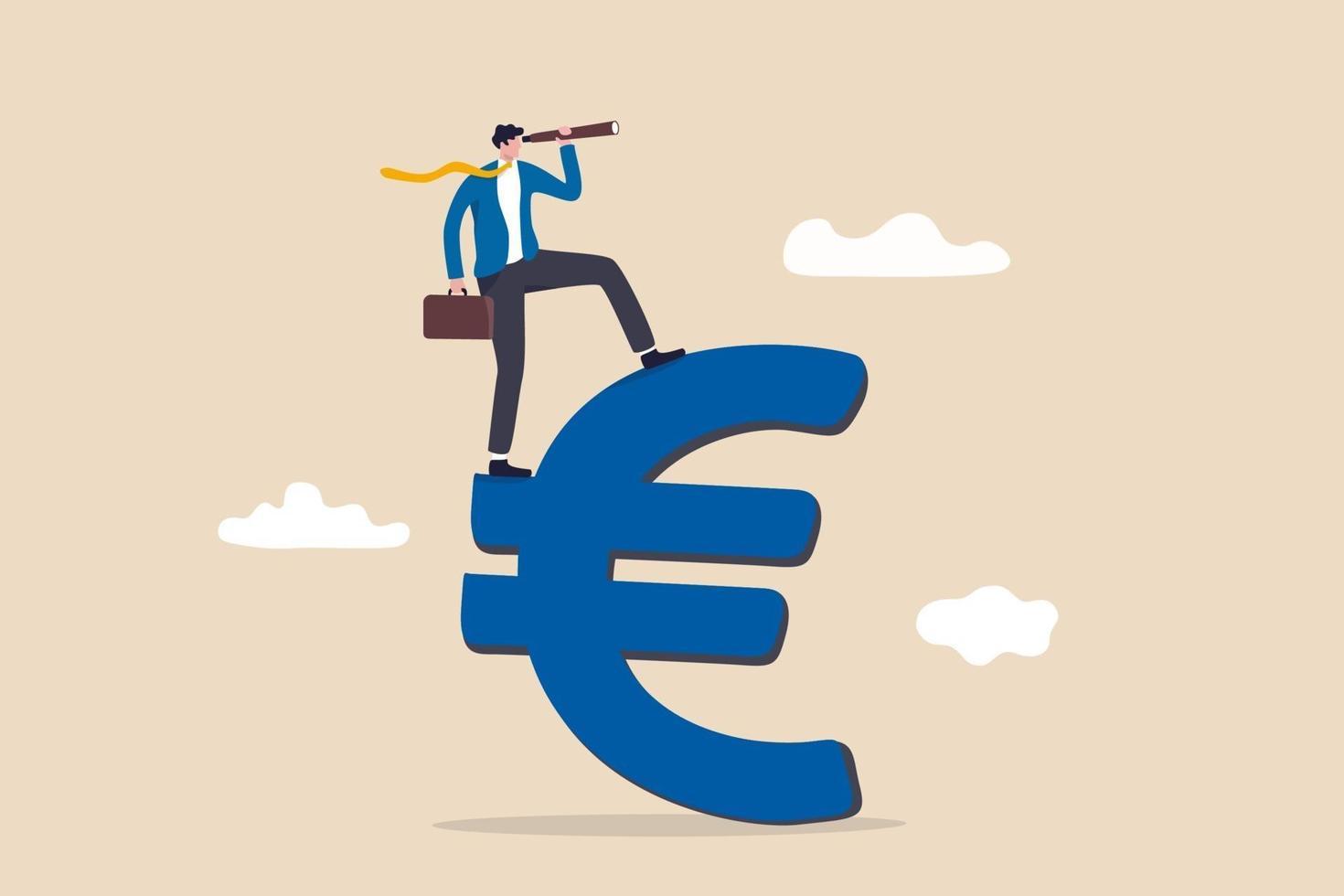 Investisseur debout sur l'euro signe avec télescope pour voir l'avenir du marché vecteur