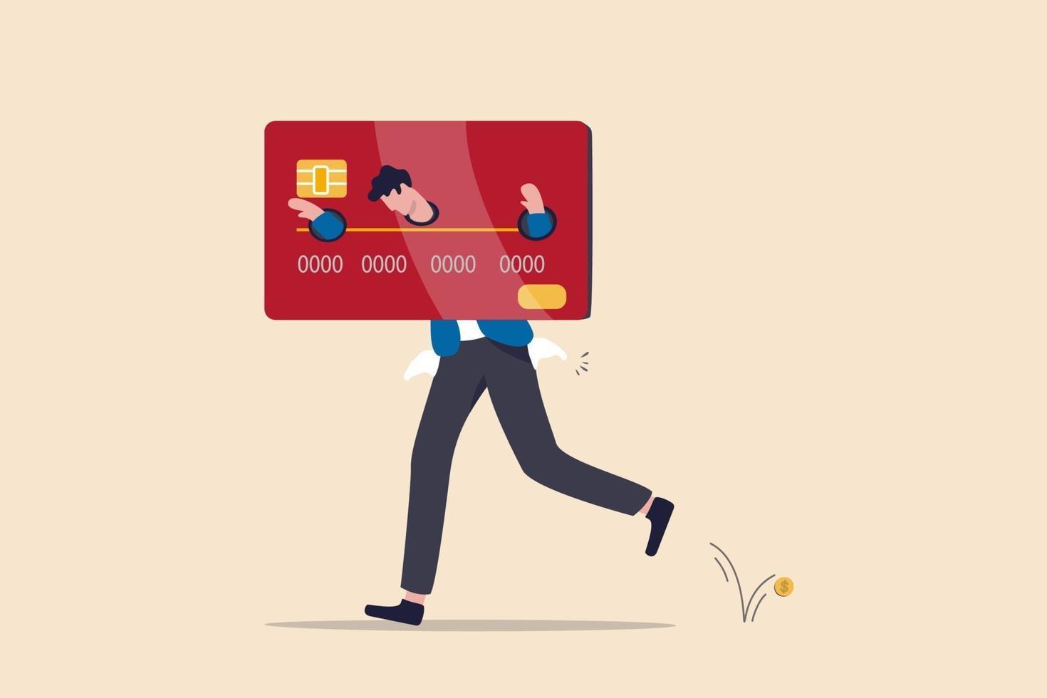 Dette de carte de crédit, problème de dépenses excessives, échec financier ou concept de coût et de dépenses trop élevé vecteur
