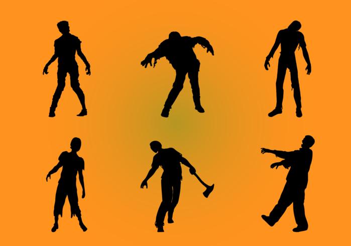 Jeu de silhouettes de zombies vecteur