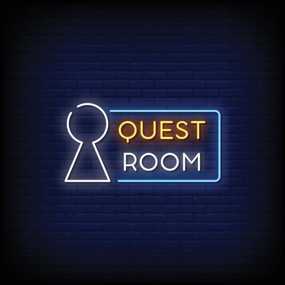 logo de la salle de quête vecteur de texte de style enseignes au néon
