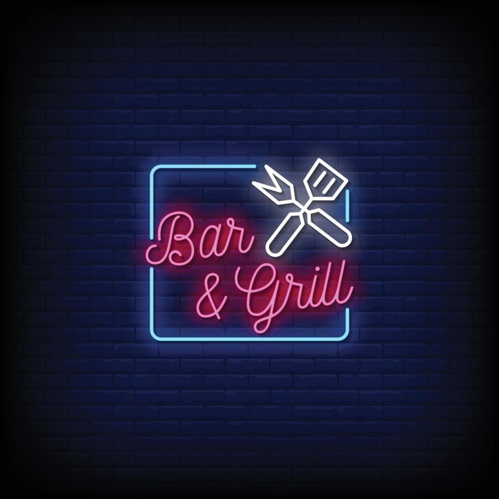 bar et grill design vecteur de texte de style enseignes au néon