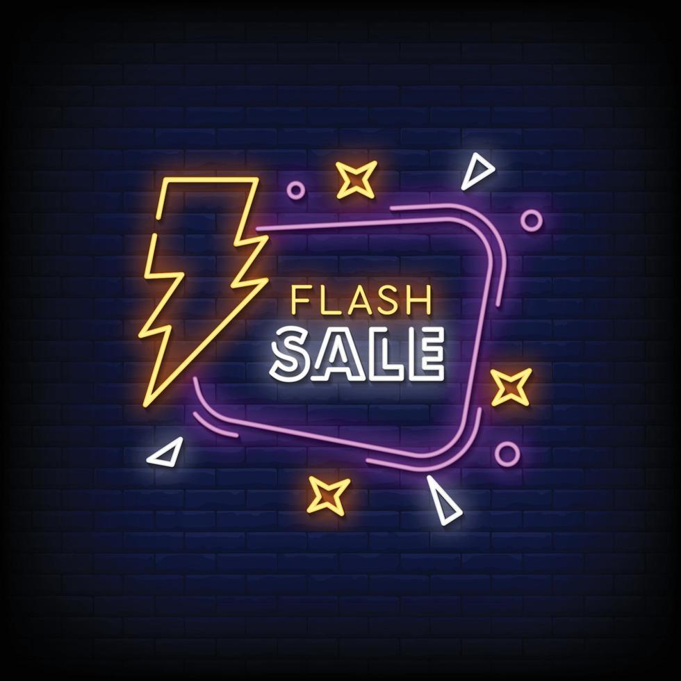 conception de vente flash vecteur de texte de style enseignes au néon