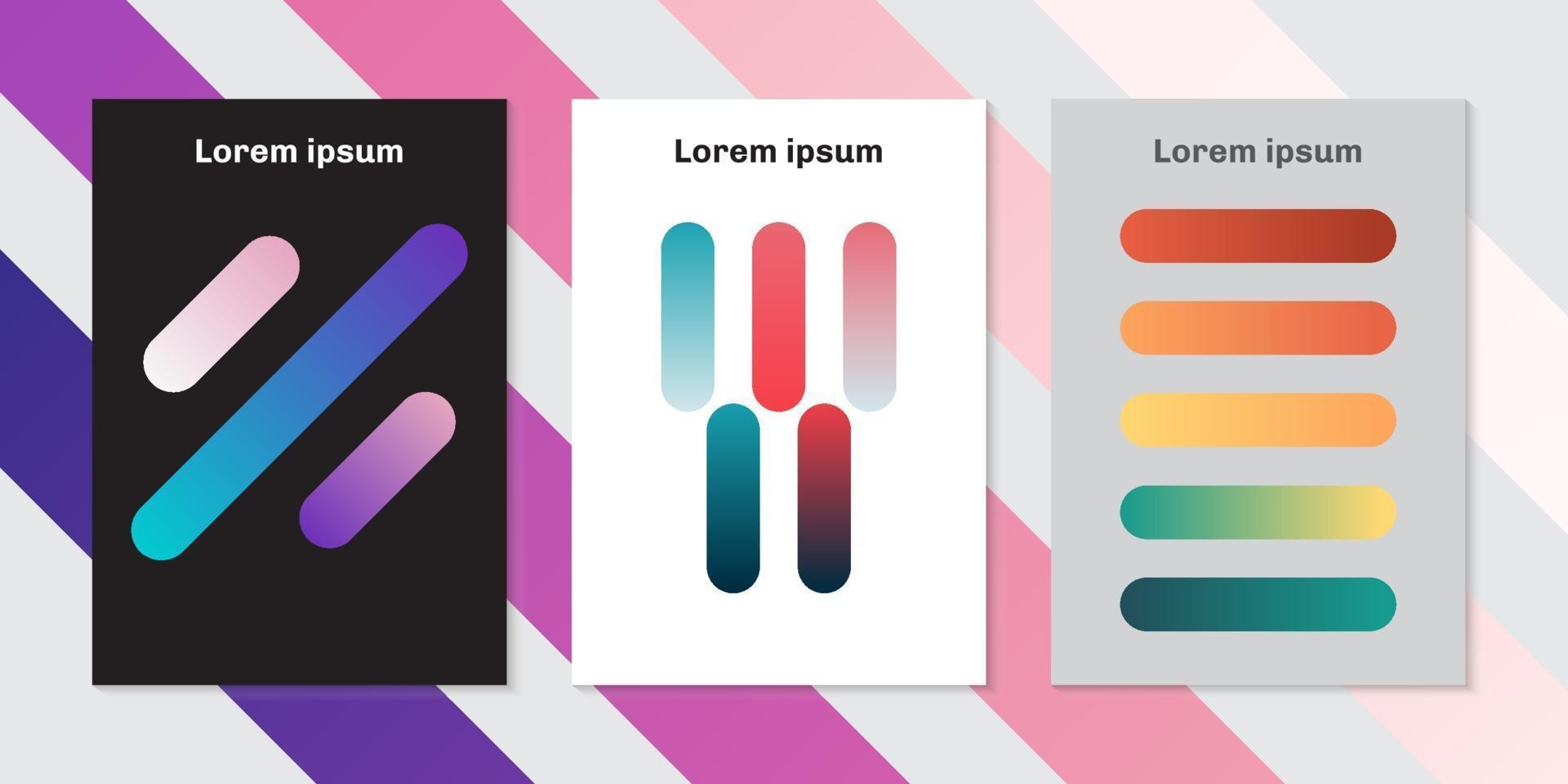 ensemble de modèle de brochure fond de lignes arrondies colorées vecteur