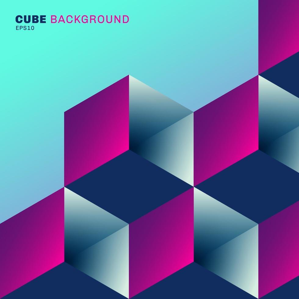 3d abstrait boîte de cube géométrique motif de couleur vibrante sur fond bleu vecteur