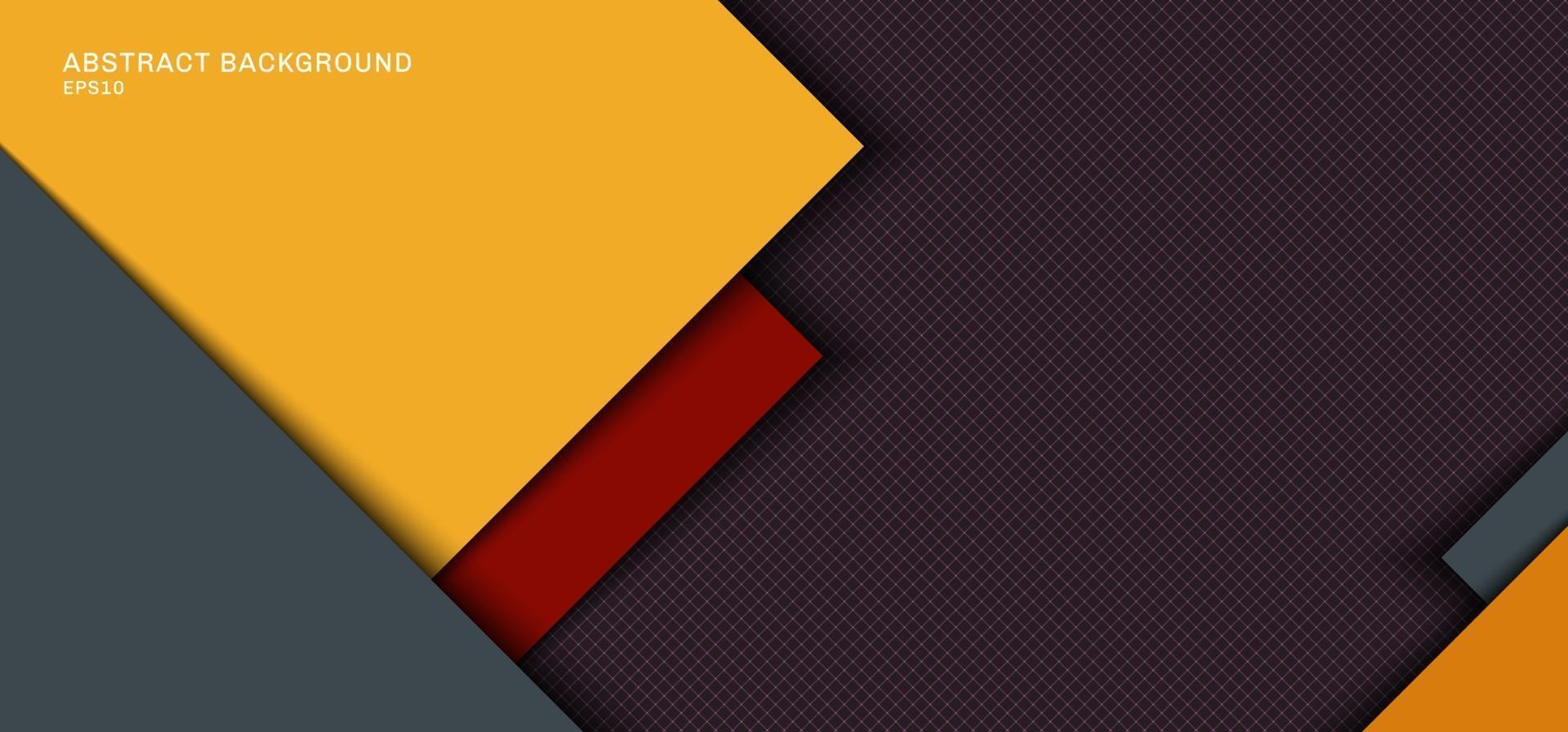 conception de modèle de bannière web couche de chevauchement carrée jaune, grise avec des rayures rouges avec une ombre sur fond de grille. vecteur
