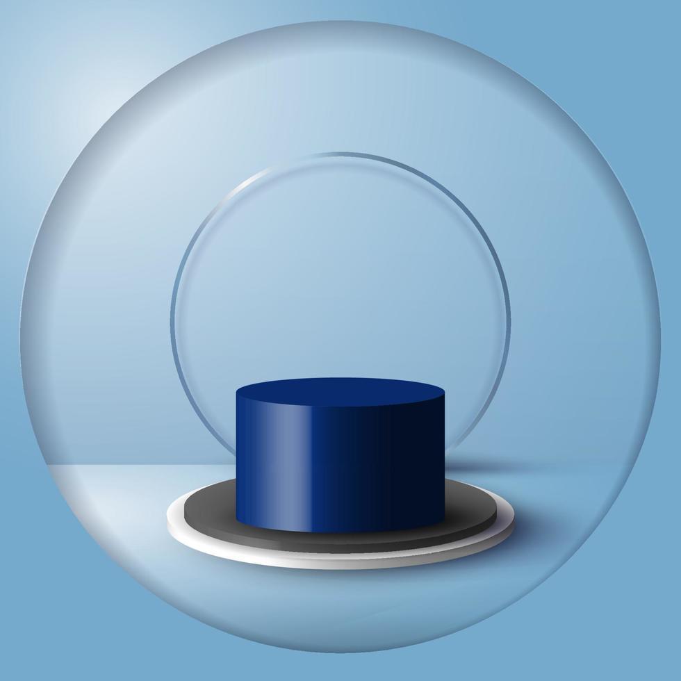 Stand de produit vide de salle bleue de studio 3D, plate-forme, podium pour la présentation vecteur