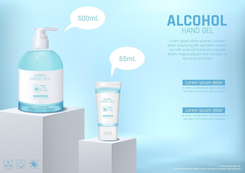 désinfectant pour les mains avec modèle d'affiche d'alcool vecteur
