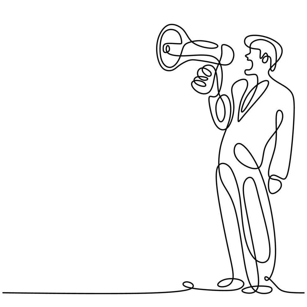 Une ligne continue a dessiné un homme tenant un haut-parleur et parle avec empressement en criant fort. le concept d'annonce, d'avertissement, d'oratoire, de déclaration forte, de publicité. homme de caractère dans la prise de parole en public vecteur