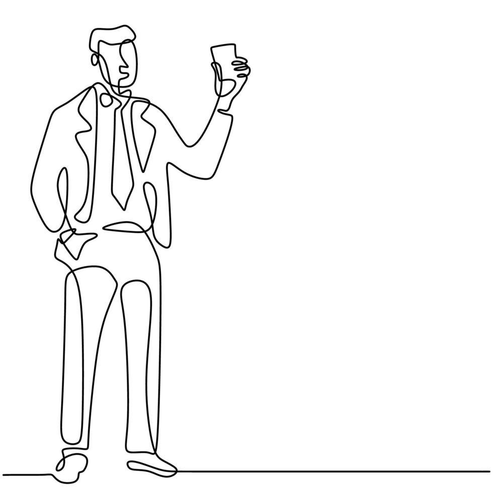 homme d'affaires détient une carte de visite ou une carte de crédit un dessin au trait continu sur fond blanc. jeune officier en costume paye ses courses avec une carte de crédit achat avec concept sans numéraire vecteur