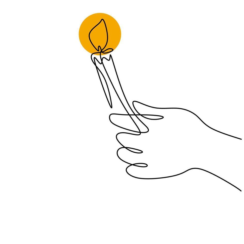 dessin d'une ligne continue d'une main tenant une bougie allumée. mains humaines tenant une bougie de mémoire. bougie en cire fondante dans la main gauche. conception de minimalisme de vecteur isolé sur fond blanc