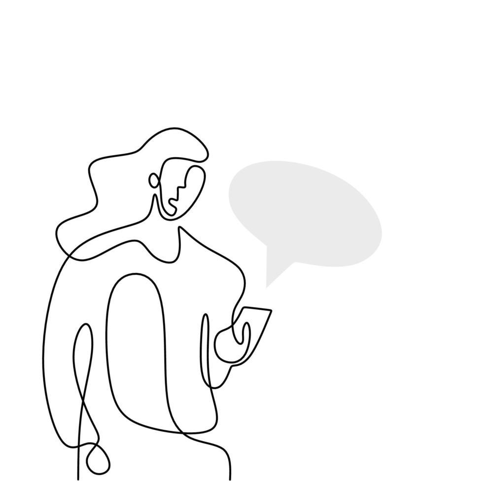 dessin au trait continu d'une femme tenant un smartphone. belle femme debout et en regardant son téléphone pour discuter avec bulle de dialogue isolé sur fond blanc. illustration vectorielle vecteur