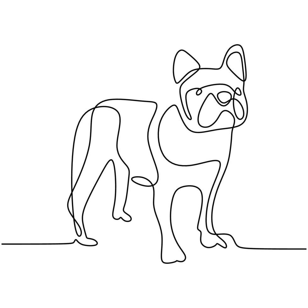 chien de chasse un dessin au trait continu sur fond blanc. chien drôle est debout pose. le concept de faune, animaux de compagnie, vétérinaire. illustration vectorielle de style minimalisme dessiné à la main. icône animal sympathique vecteur