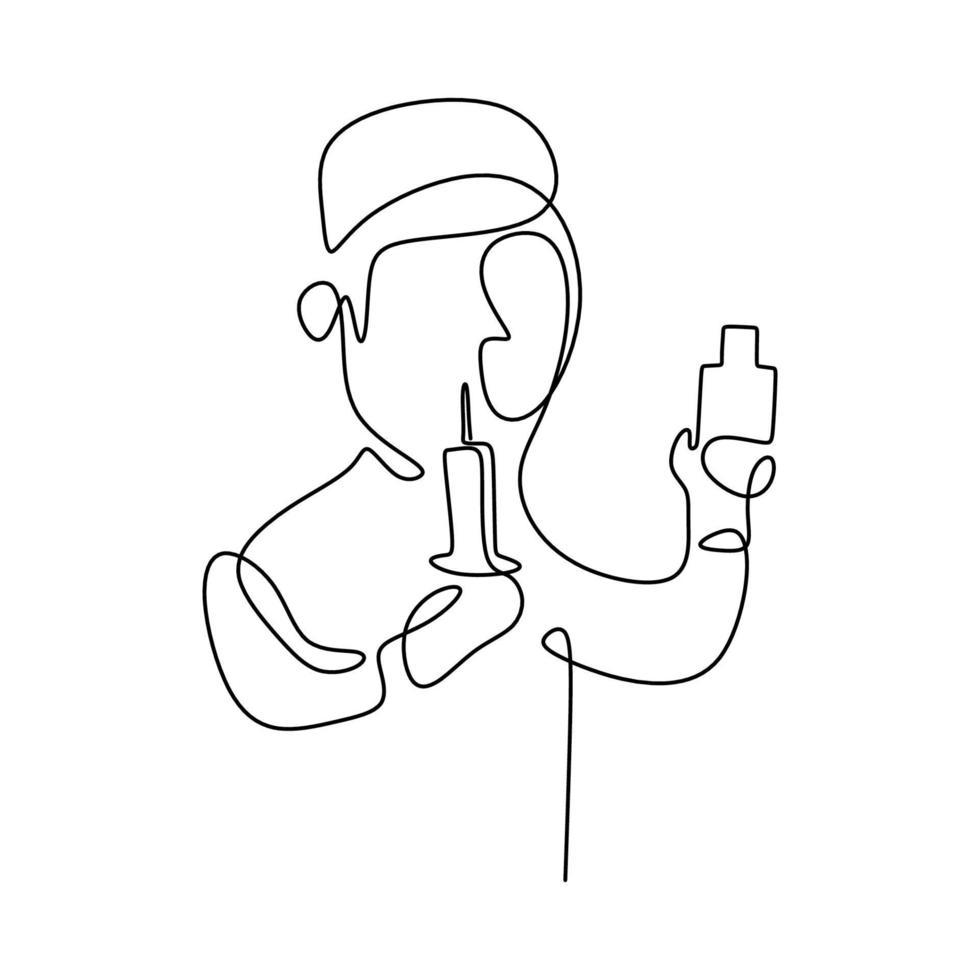 un chercheur scientifique en ligne de dessin continu. un scientifique crée une nouvelle formule pour les vaccins en laboratoire. le concept de science dans la recherche. illustration vectorielle sur fond blanc vecteur