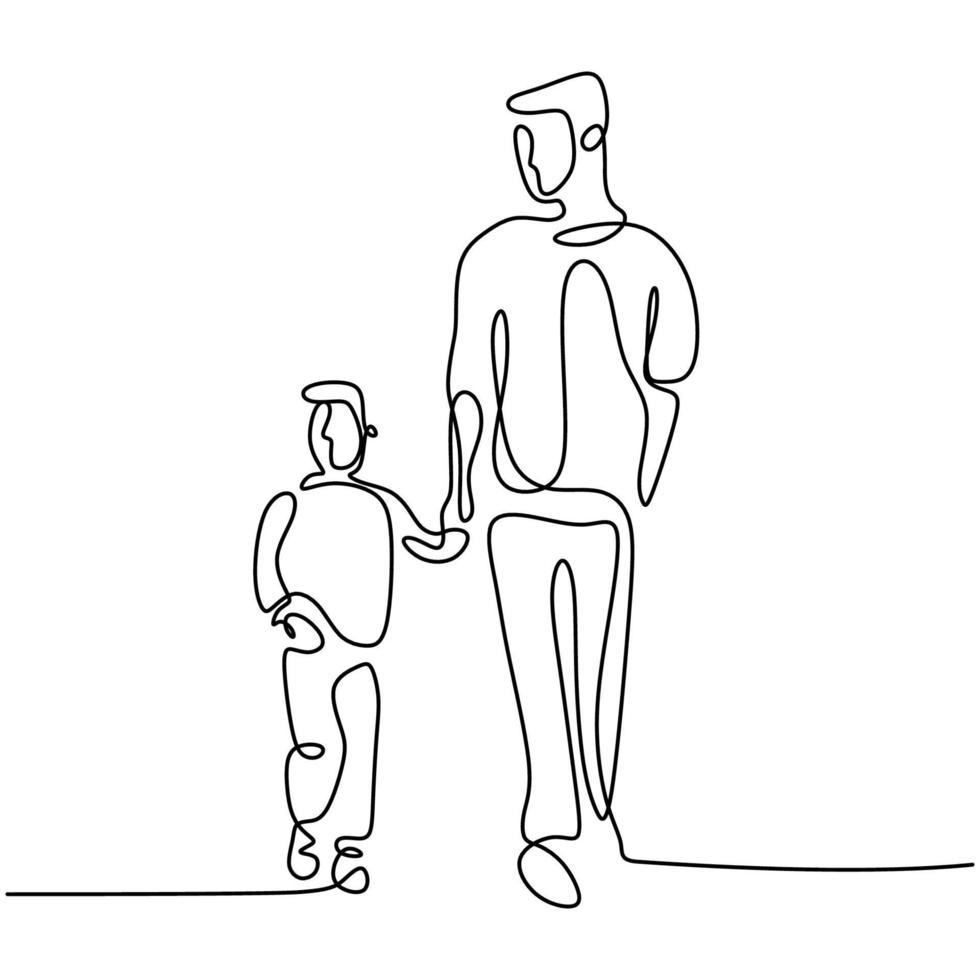 un dessin au trait du père et du fils. jeune papa tenant son enfant et marchant ensemble dans la rue pour faire de l'exercice le matin. concept de temps en famille heureuse. style minimalisme. illustration vectorielle vecteur