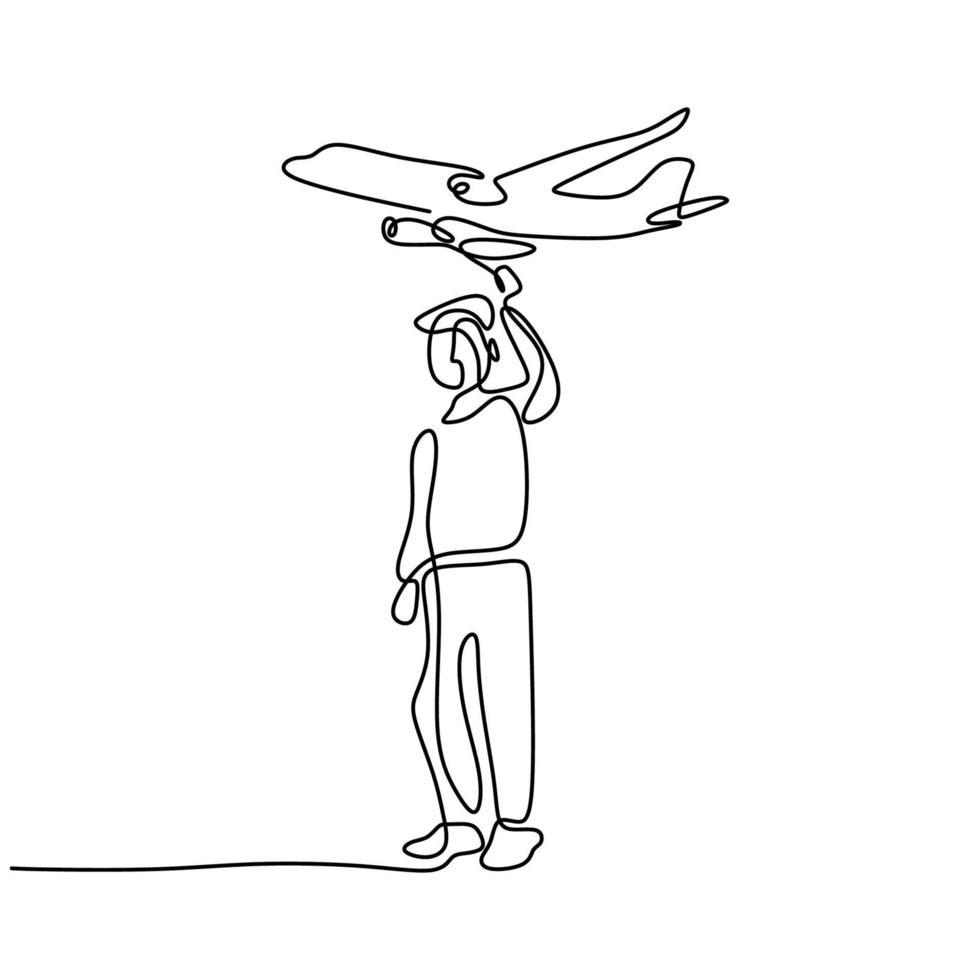 un dessin au trait continu d'un jeune homme lançant un avion jouet sur le terrain. heureux adolescent garçon jouant avion dans le ciel isolé sur fond blanc. thème de l'activité estivale. illustration vectorielle vecteur