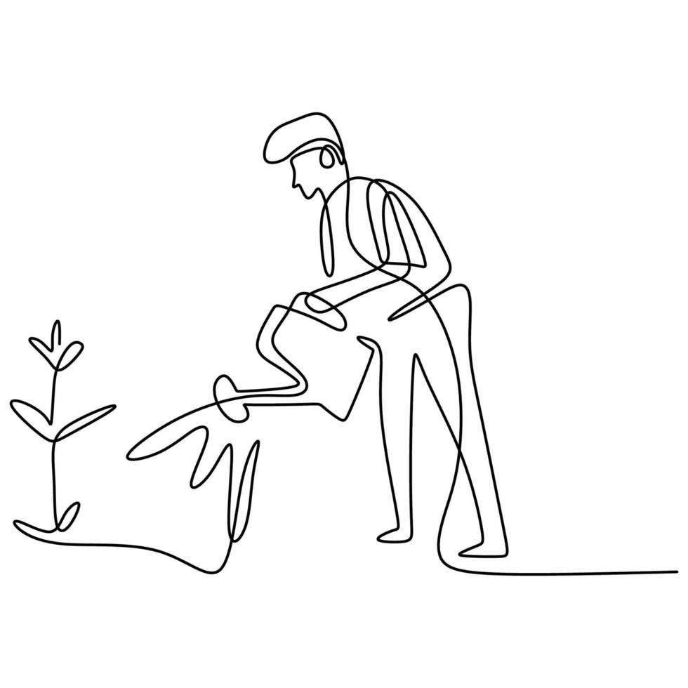 dessin au trait continu unique d'heureux jeune mâle arrose la fleur dans le jardin à la journée ensoleillée d'été concept de jardinage ou de plantation. retour à la nature dans la conception du minimalisme. illustration vectorielle vecteur