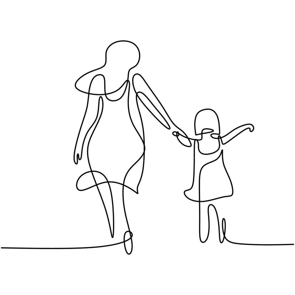 un dessin au trait d'une jeune maman heureuse tenant sa fille. une mère jouant avec son enfant à la maison isolé sur fond blanc. concept de parentalité familiale. illustration vectorielle vecteur