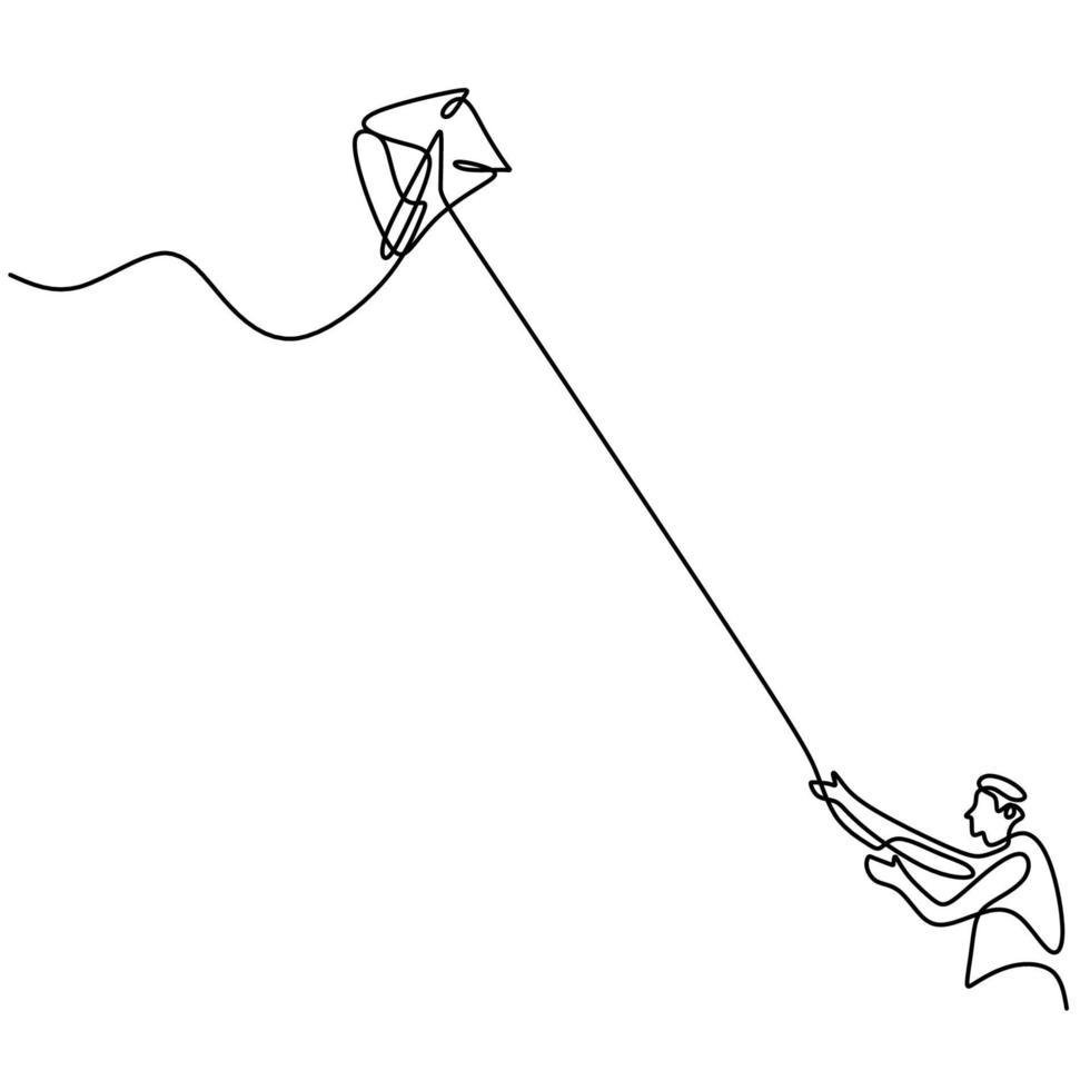Un seul dessin au trait d'un jeune garçon adolescent heureux jouant à faire voler le cerf-volant dans le ciel au champ extérieur en été. thème créatif liberté et passion design minimaliste dessiné à la main vecteur