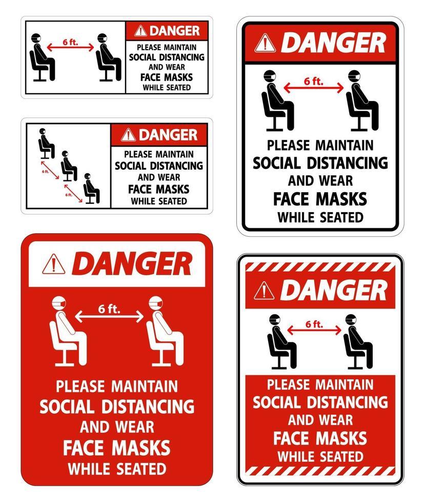 Danger maintenir la distanciation sociale porter des masques faciaux signe sur fond blanc vecteur