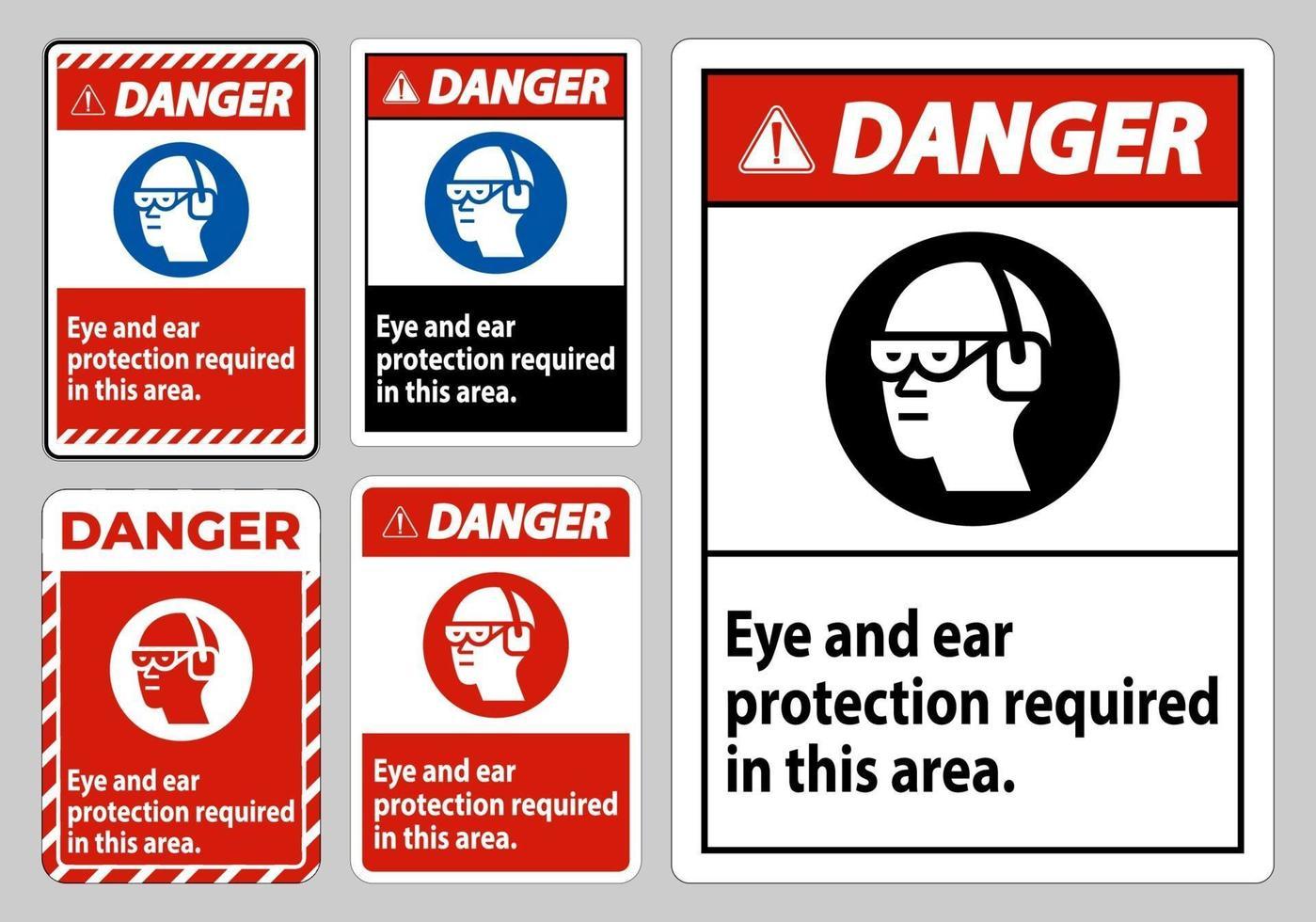 panneau de danger protection oculaire et auditive requise dans cette zone vecteur
