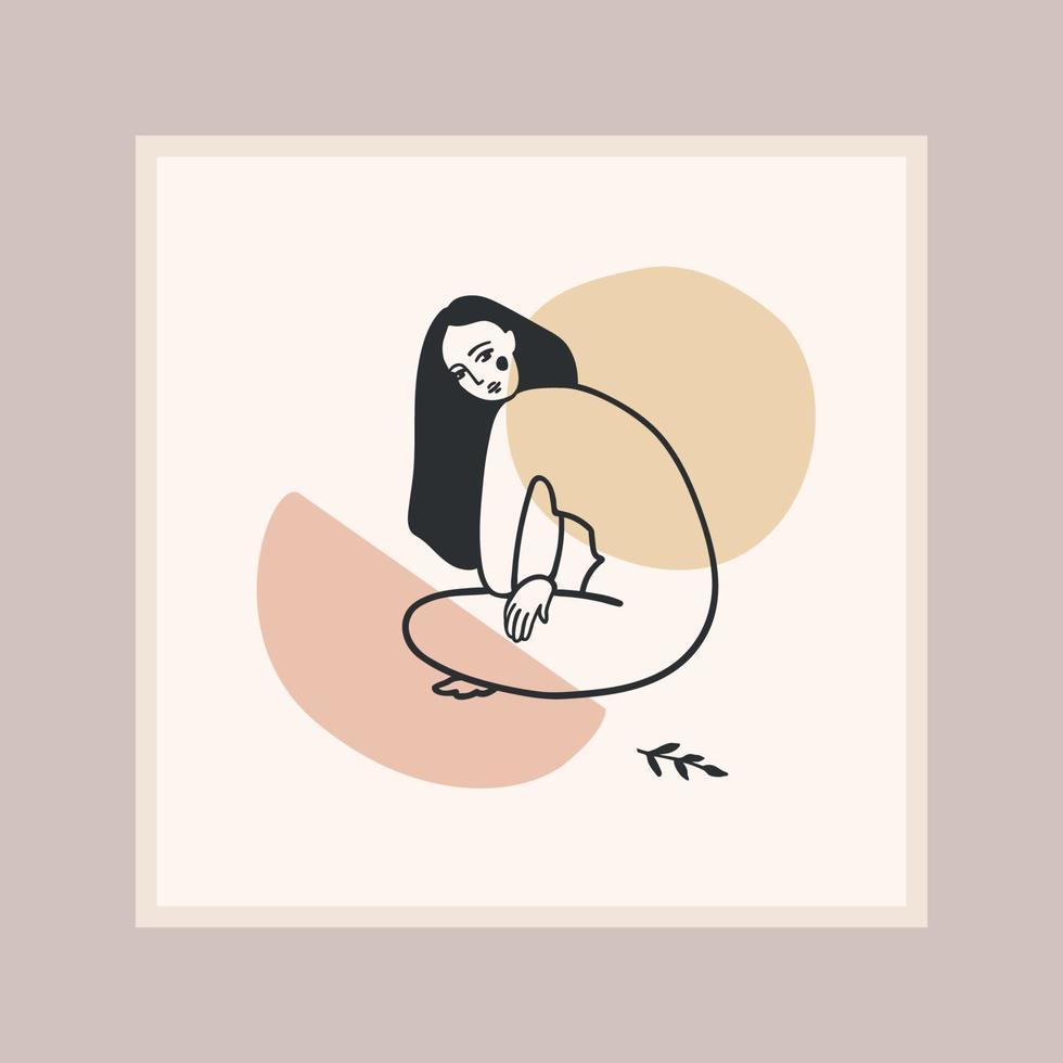 impression d'art contemporain avec femme. dessin au trait. conception de vecteur moderne