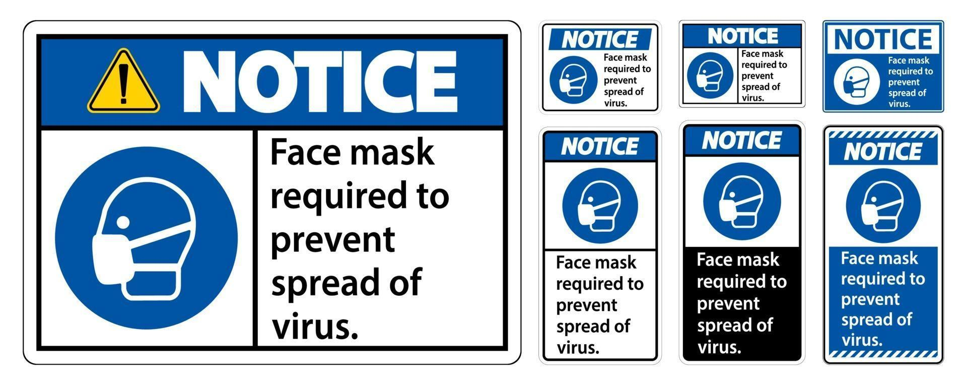 Avis masque facial nécessaire pour empêcher la propagation du signe de virus sur fond blanc vecteur