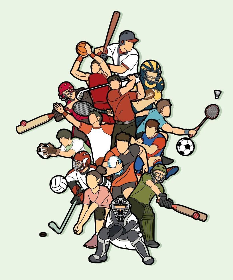 action de joueurs de sport de dessin animé vecteur