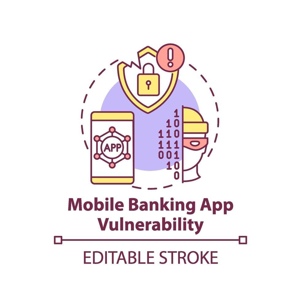 icône du concept de vulnérabilité de l & # 39; application bancaire mobile vecteur