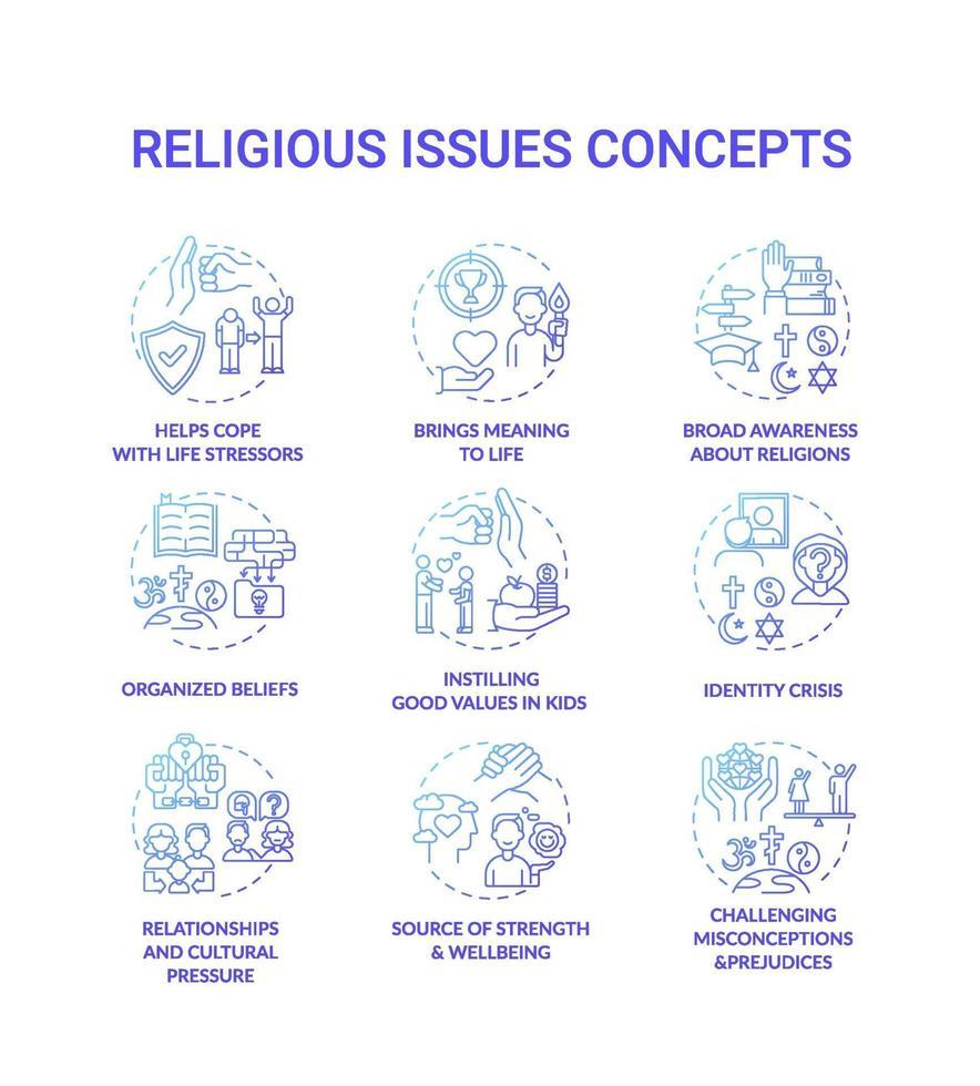 questions religieuses et valeurs jeu d & # 39; icônes concept bleu vecteur