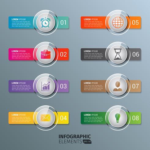 Modèle de boutons d'infographie en verre vecteur