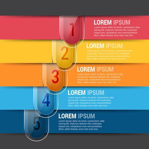 Modèle de conception d'infographies modifiables horizontales vecteur