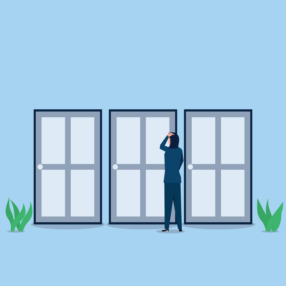 illustration de concept entreprise vecteur plat. homme d'affaires confus au sujet de choisir une porte.