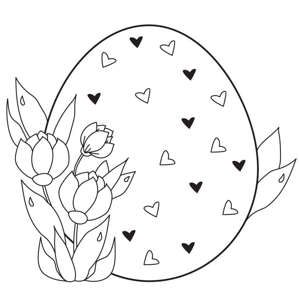 carte de Pâques. gros oeuf de Pâques avec des coeurs et un bouquet de fleurs et de feuilles printanières. vecteur. ligne noire, contour. illustration pour la conception, la décoration, l'impression, les cartes postales pour joyeuses Pâques vecteur