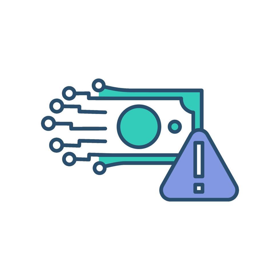 icône de couleur rgb de monnaie électronique vecteur