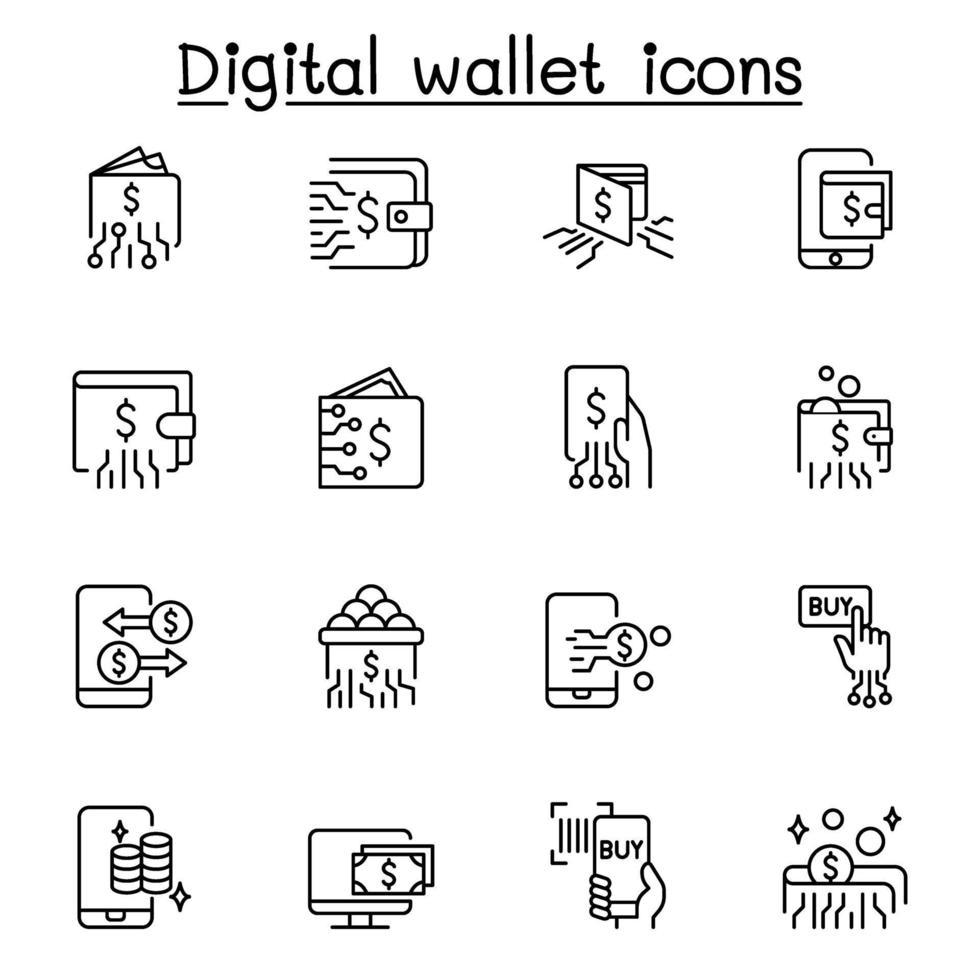 icône de portefeuilles numériques définie dans un style de ligne mince vecteur