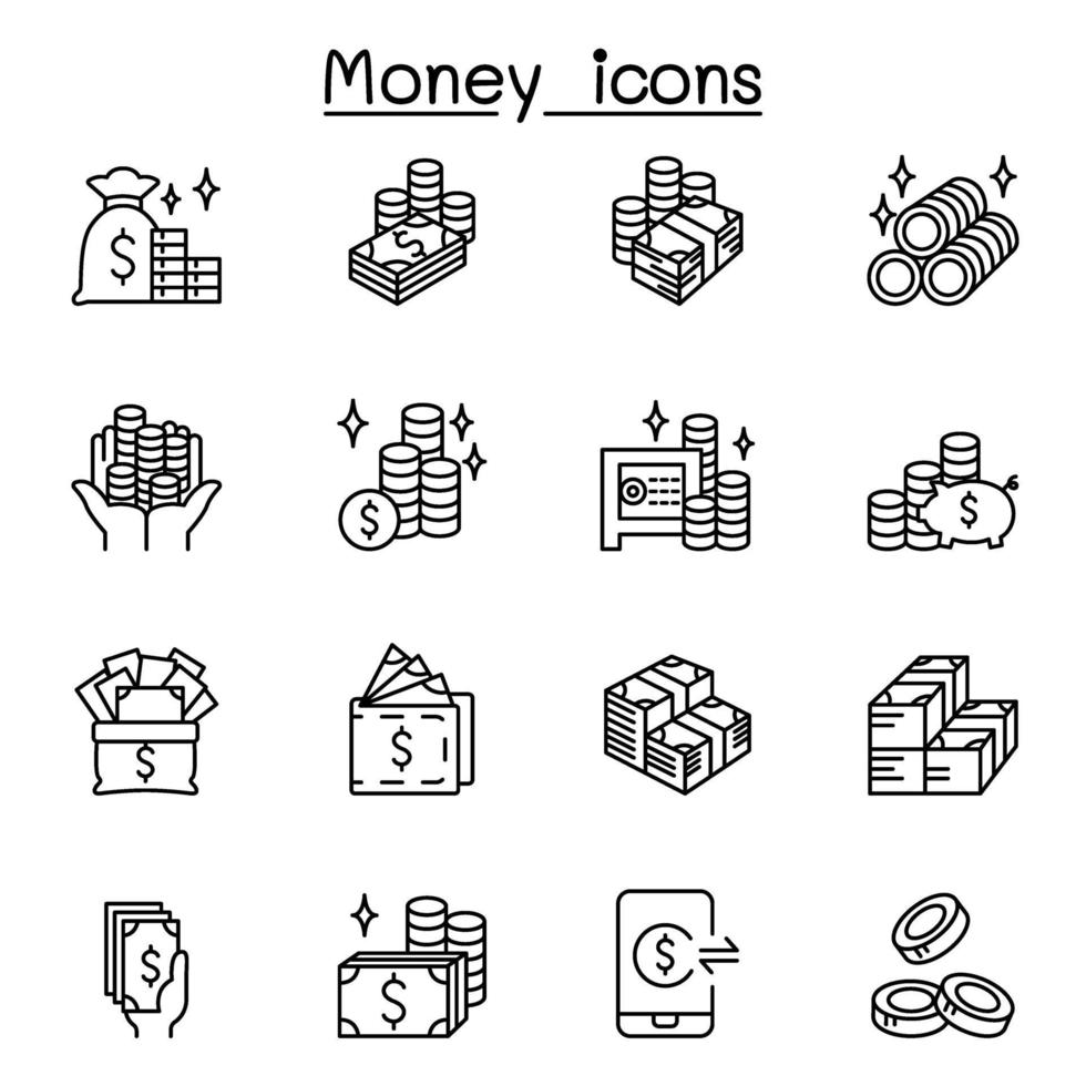 Icônes d'argent, de trésorerie, de monnaie et de pièces de monnaie dans un style de ligne mince vecteur