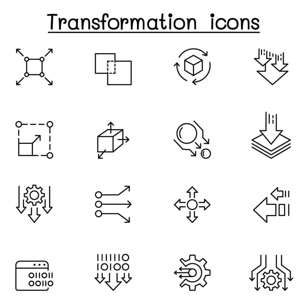 Transformer, modifier, changer, mettre à l'échelle, mettre à jour le jeu d'icônes dans le style de ligne fine vecteur