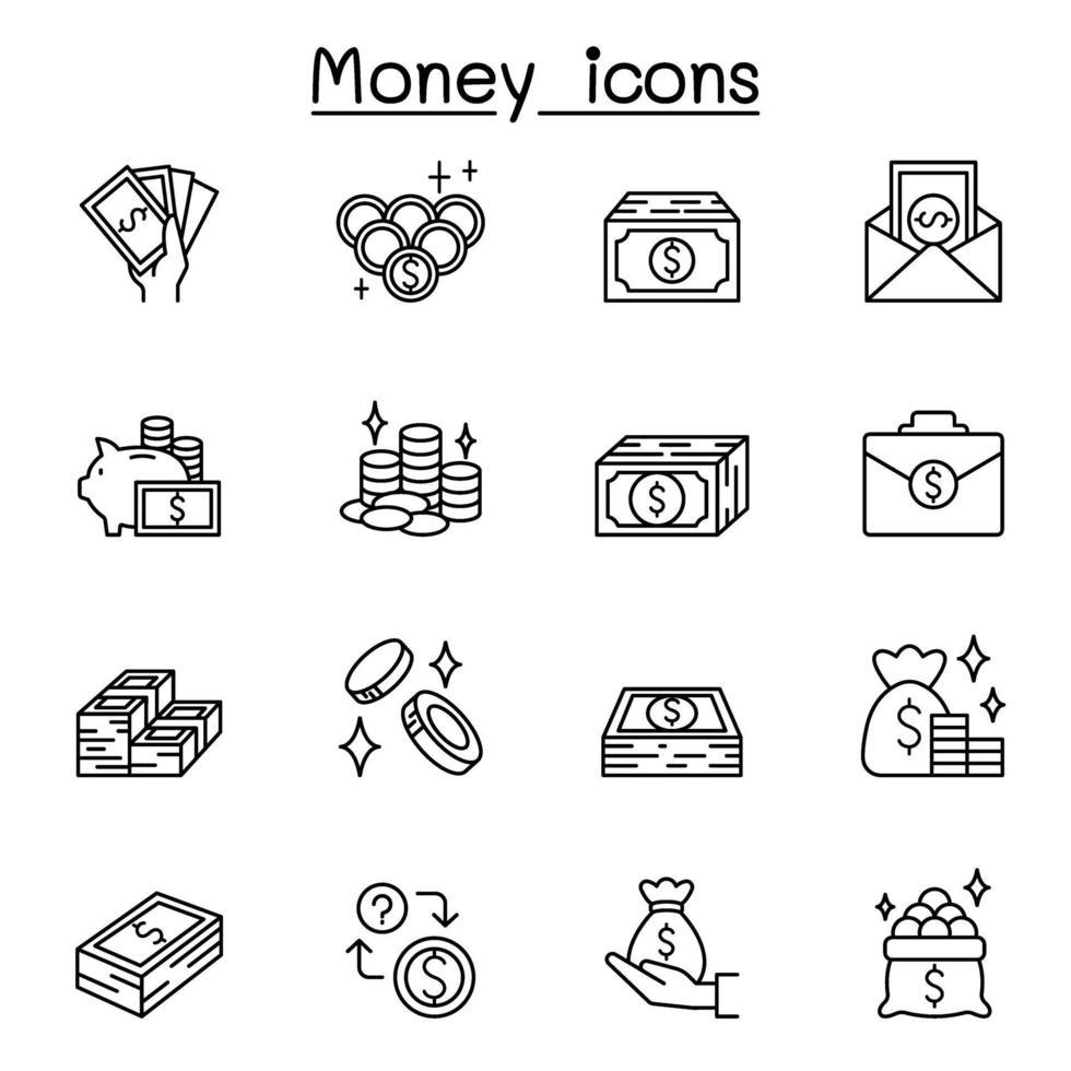 icônes d & # 39; argent définies dans un style de ligne mince vecteur