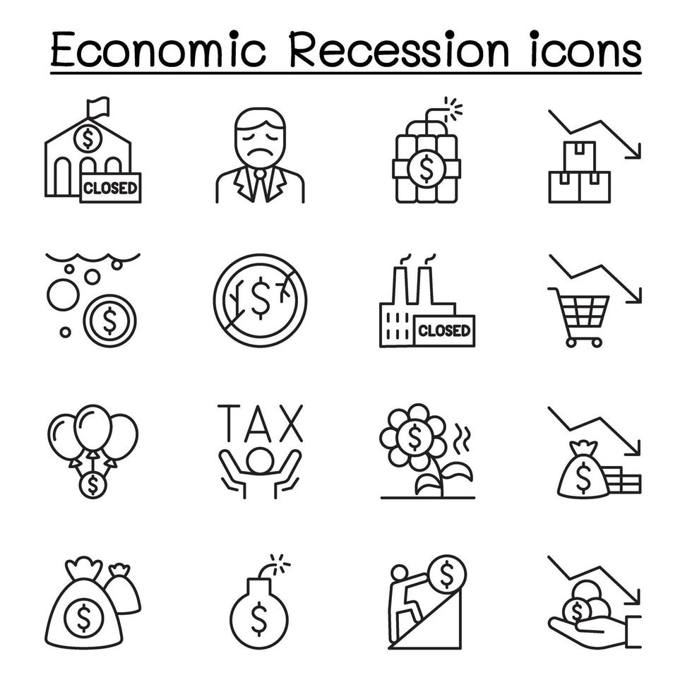 récession économique, icônes de crise commerciale définies dans le style de ligne mince vecteur