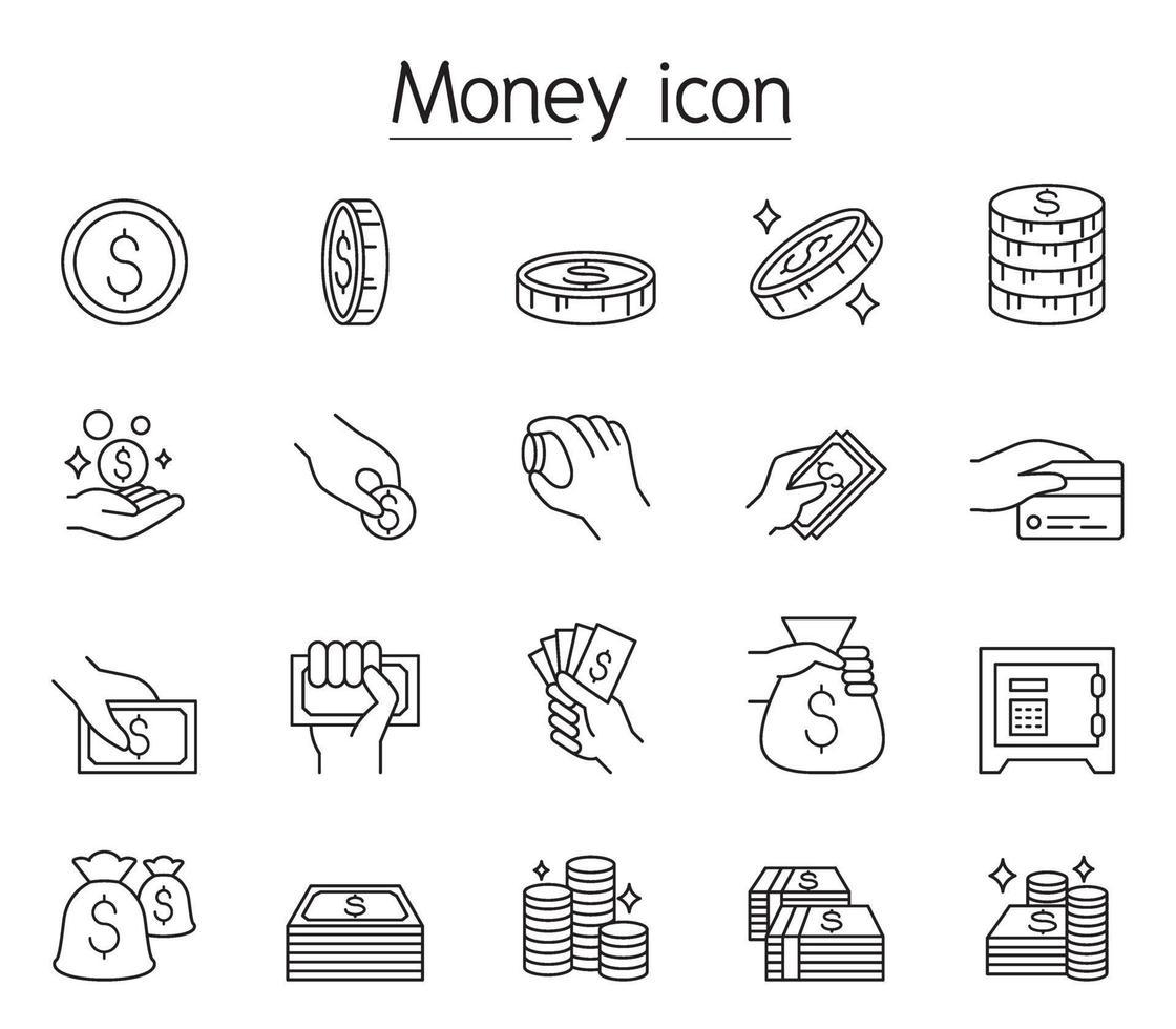 argent, argent comptant, pièce de monnaie, icône de la monnaie dans le style de ligne mince vecteur