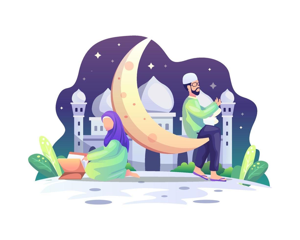 couple musulman lisant le coran et priant pendant le mois sacré du ramadan kareem vecteur